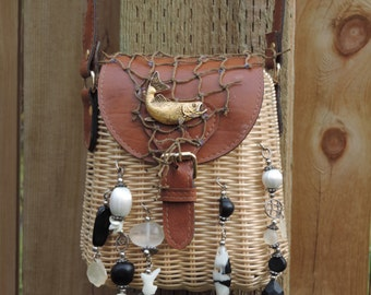 Upcycled Purse Fishing Creel Basket Crossover/Purse named 'Ham'