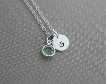 Initial Jewelry Sterling Silver Personalized Initial Necklace Simple Monogram Single Charm Rustic Swarovski Channel Drop Charm Birthstone