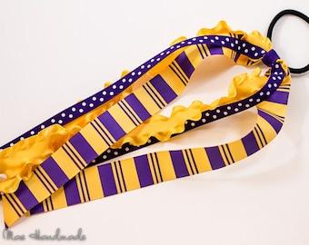 Lakers Fan Purple & Gold Ponytail Ribbon Streamer STYLE B
