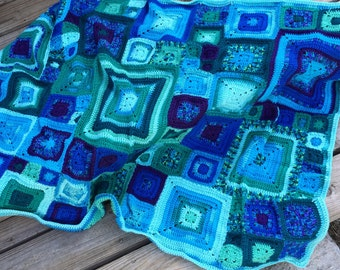 Square Afghan, Lap Throw, Sofa Blanket, Blue Babette