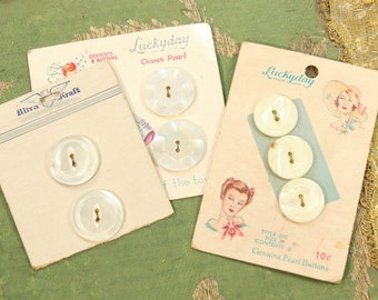 Antique vintage  button card lot mop  gorgeous sewing graphics cream  mother of pearl tiny buttons dolls dress  1920 sweater set