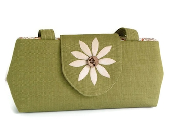 SALE - Jewel Cut Purse - Flower Applique - Coconut Button -  Sage Green - Shoulder Bag