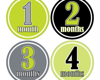 12 Monthly Baby Milestone Waterproof Glossy Stickers - Just Born - Newborn - Weekly stickers available - Design M025-01