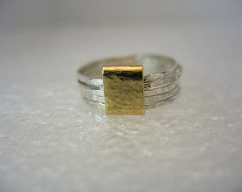 Quintet - gold and multi hammered silver bands wedding ring