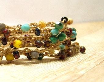 Beaded Wrap Bracelet,  Boho Bracelet,  Bohemian Jewelry, Beaded Jewelry, , Wrap Around Crochet Bracelet, Hippie Jewelry