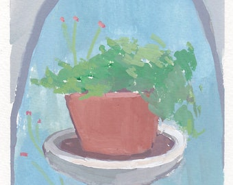 original painting / gouache painting / garden painting