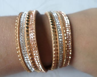 x 1 38 cm gold cuff pattern rhinestones/studs coffee MULTISTRAND leather bracelet