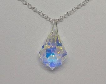 Sterling Silver Swarovski Crystal Clear AB Baroque Necklace