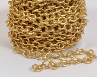 Small Heavy Cable Chain - Matte Gold - CH55 - Choose Your Length