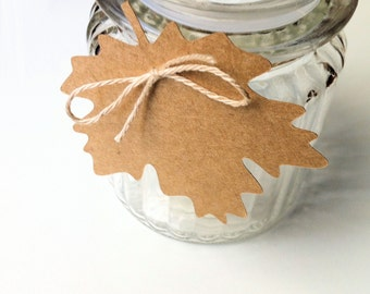 Maple Leaf shape gift tags. Autumn Fall decor, rustic gift wrap, weddings, Christmas, decorations, place cards, blank kraft tag, favor tags.