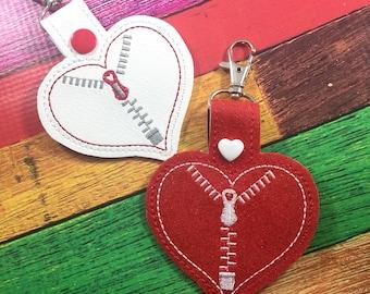 Congenital heart defect awareness keychain - clip on tag  for keys or diaper bags-  zipper heart tag - CHD - CHD awareness tag