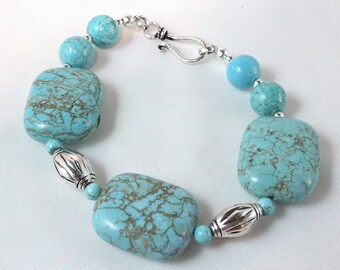 Turquoise Magnesite and Sterling Silver Bracelet