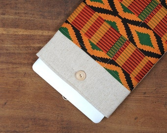 30% OFF SALE White Linen MacBook Case with African kente style pocket. Case for MacBook 11 Air. Sleeve for MacBook Air 11 inch.