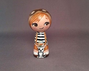 Steampunk girl with dog Wooden Handpainted Kokeshi Doll