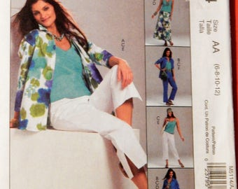 McCall's 5114 Non-stop wardrobe pattern - shirt-jacket, top, skirt and pants Uncut Sizes 6, 8, 10 and 12