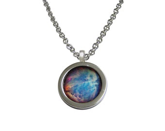 Bordered Nebula Cloud Pendant Necklace