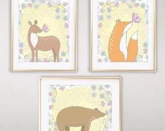 Set of 3 Whimsical Woodland, 8x10 or 11x14, Nursery Prints, Forest Nursery Print, Woodland Animals, Nursery Decor, Nursery wall art