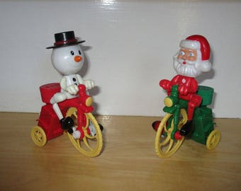 Vintage Toys - Snowman on Bicycle, Santa Claus on Bicycle, Wind-Up Toys, Lollipop Holder, Christmas Gifts, Christmas Decor