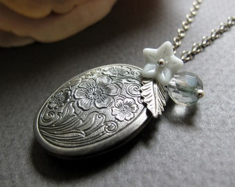 Antique Silver Floral Locket, Medium Oval, Seafoam Blue Charms, Vintage Style Necklace, Long 28 Inch Chain - SERENITY