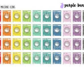 Rainbow Washing Machine Icons // Planner Stickers!