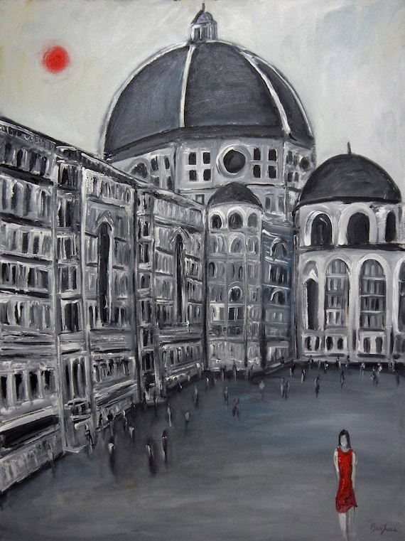 Duomo Florence Italy Modern fine Art Print Giclee from Original Oil Painting by BenWill