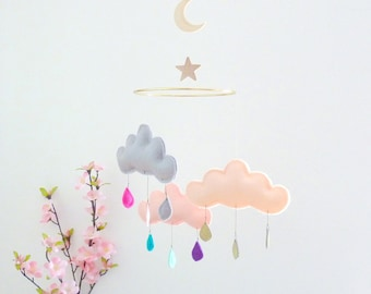 """Baby mobile-Cloud mobile for nursery """"MOON DREAM""""by The Butter Flying-crib mobile-scandi baby-nursery ideas-ceiling mobile-gold crib sheet"""