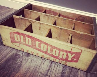 Vintage 1950's Old Colony Beverages  Wood Soda Crate