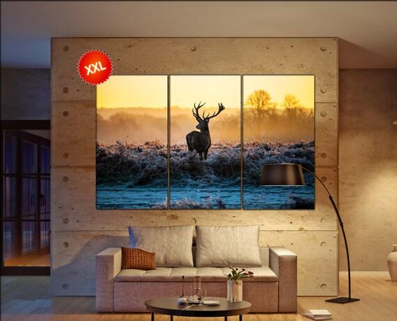 deer  canvas wall art deer wall decoration deer canvas wall art art deer large canvas wall art  wall decor