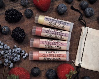 Lip Balm Gift Set BERRY Strawberry - Blackberry - Lemon Blueberry - Elderberry