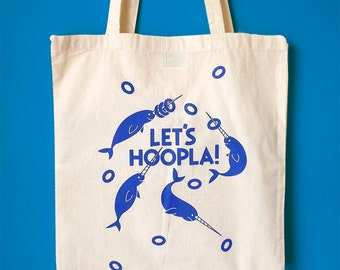 Narwhal Tote Bag, Screenprint Tote Bag, Handprinted Tote Bag, Fun Shopping Bag, Illustrated Tote, Typography Tote, Beach Tote, Cute Tote Bag