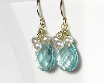 Aquamarine Drop Earrings Blue Drop Earrings Blue Quartz Earrings Aquamarine Earrings with Pearls in Gold