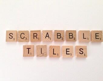 100 x wooden Scrabble Tiles letters - Magnets / Pendants / Craft 1 Complete Set