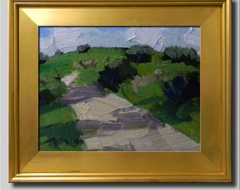Plein Air Landscape Painting, Impressionist Oil, Landscape, Hills Painting, Field Painting, Contemporary Road Painting, Abstract Painting