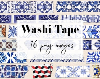Portuguese Washi Tape, Azulejos Clipart, Portuguese Tiles, Azulejos Washi Tape, Portuguese Clipart, Decor Graphic Elements, BUY3FOR6