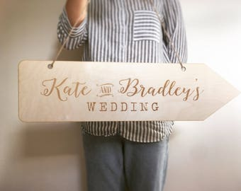 Wedding Sign, Wedding arrow, Engraved wooden sign, personalised wedding sign, wooden wedding sign, rustic sign, rustic wedding sign