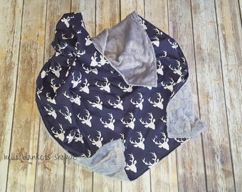 Minky Baby Blanket- Deer baby Blanket- Baby boy Blanket- Navy Baby Boy Bedding- Woodland Nursery- Deer Crib Bedding