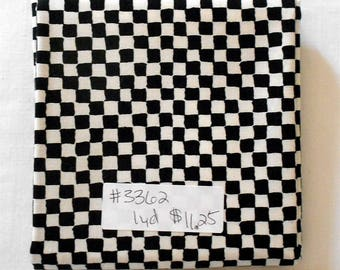 Fabric -1yd piece- B & W/black and white check/checkered/checker flag print/race car/small squares/Micael Miller Clown Check (#3362)