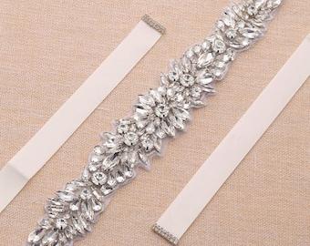 Clear Crystal Rhinestone Bridal Sash / Wedding Sash/ Bridal Belt