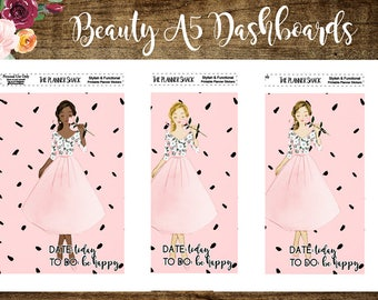 A5 Beauty Dashboards | Printable Dashboards | Travelers Notebook | Printable | Dashboards | Dark Skin | Brunette | Blonde | Floral