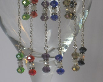 Chain and Crystal Wine Charms - Wine Markers (Set of 6)