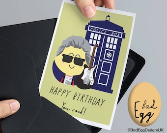 "BadEgg Doctor Who ""You Rock!"" - Peter Capaldi Doctor Who Inspired TV Greetings Card by Bad Egg Designs UK"