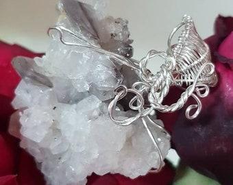 White quartz pendant mixed with smoky quartz