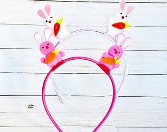 Headband 3D Easter Bunny Headband girls headband girls easter gift Easter hair accessory Easter basket filler CHOOSE PINK or WHITE rabbits