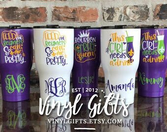 Mardi Gras /  New Orleans  / Fat Tuesday / New Orleans Bachelorette Cup 30 ounce RTIC tumbler