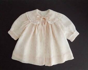 Vintage Breman & Tanner Embroidered Pale Pink Silk Baby Girl Coat
