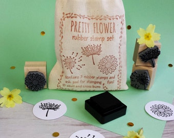 Pretty Flower Rubber Stamp Set - Floral Rubber Stamp - Dandelion Rubber Stamp - Daisy Rubber Stamp - Queen Anne's Lace Rubber Stamp