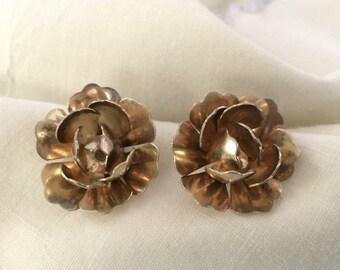Sterling Earrings, 1950's Rose Petal Design