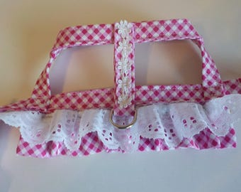 Dog Harness - Dog Clothes - Custom Dog Harness -Pink Check Ruffle with Overskirt - Dog Apparel -  Dog Dress - Small Dog Harness