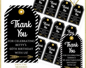 Personalized Black and Gold Thank You Tags:Printable Tags, 50th Birthday Party Favors, 50th Anniversary Tag, Wine Tags, Birthday Tag, 10026