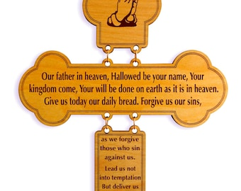 The Lords Prayer Wall Cross - Religious Gifts - Housewarming Gift - Christian Home Decor -  Religious Home Decor - Lord's Prayer - Christian